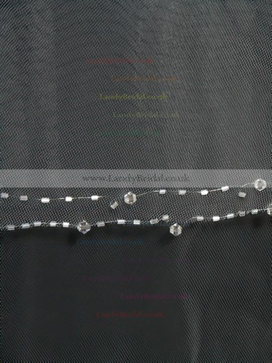 Three-tier White/Ivory Fingertip Bridal Veils with Beading #LDB03010170