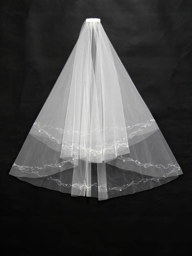 Three-tier White/Ivory Fingertip Bridal Veils with Beading #LDB03010171