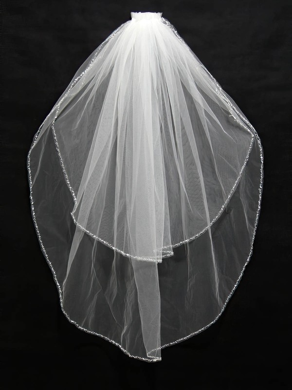 Two-tier White/Ivory Fingertip Bridal Veils with Beading #LDB03010172