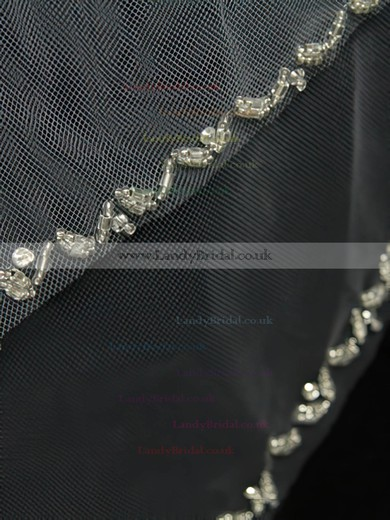Two-tier White/Ivory Fingertip Bridal Veils with Beading #LDB03010173