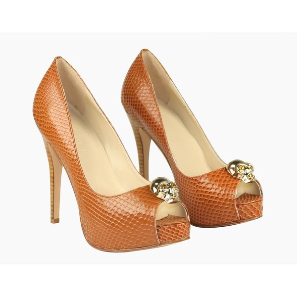 Women's Brown Patent Leather Pumps with Rhinestone