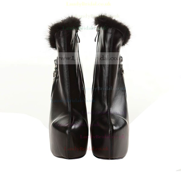Women's Black Leatherette Pumps with Zipper/Fur