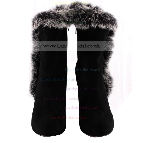 Women's Black Suede Pumps with Fur