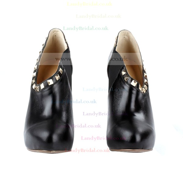 Women's Black Leatherette Pumps with Rhinestone