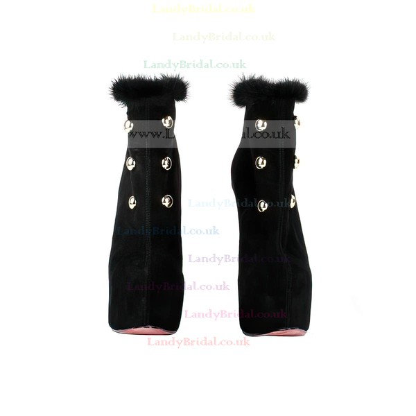 Women's Black Suede Pumps with Zipper/Fur