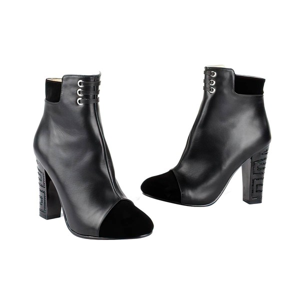 Women's Black Leatherette Pumps with Zipper