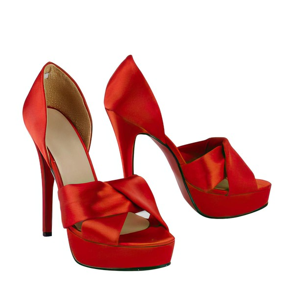 Women's Red Satin Pumps with Ruched