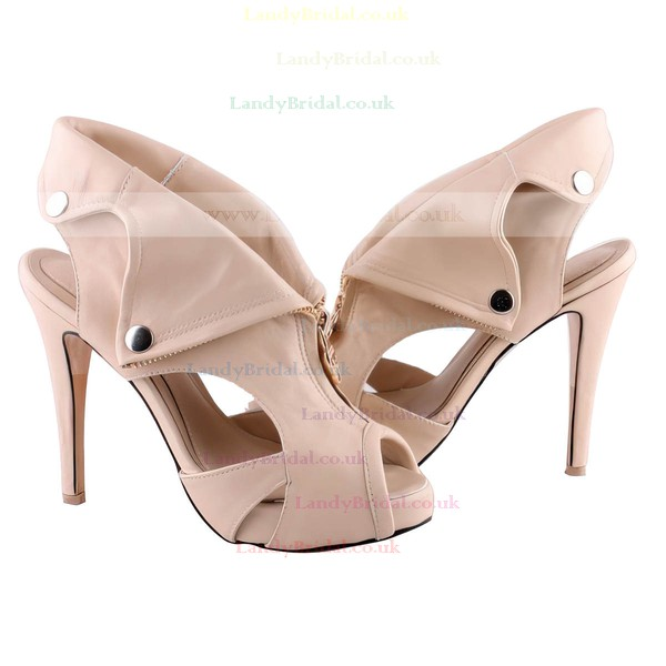 Women's Apricot Suede Pumps with Zipper