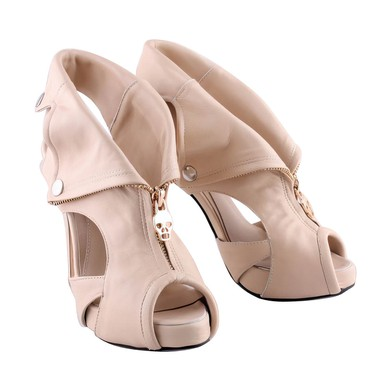 Women's Apricot Suede Pumps with Zipper #LDB03030279