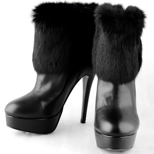 Women's Black Suede Pumps with Fur/Zipper