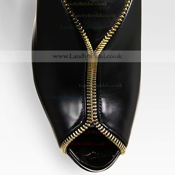Women's Black Real Leather Pumps with Zipper