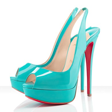 Women's Blue Patent Leather Pumps with Elastic Band #LDB03030285