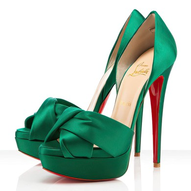 Women's Green Satin Pumps #LDB03030288