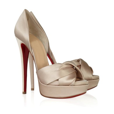 Women's Champagne Satin Pumps with Ruched #LDB03030293