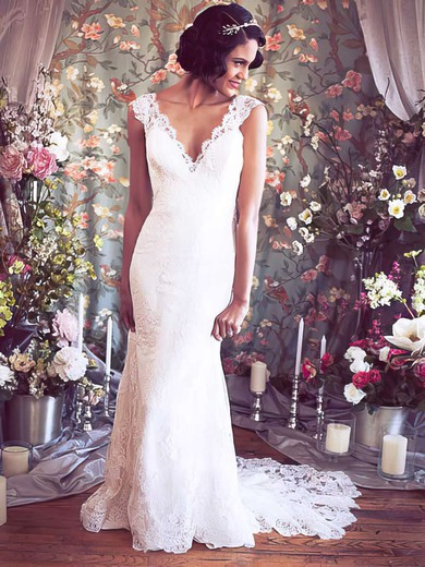 Trumpet/Mermaid Ivory Lace Covered Button V-neck Wedding Dresses #LDB00021351