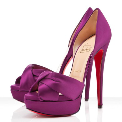 Women's Purple Satin Pumps with Ruched #LDB03030295