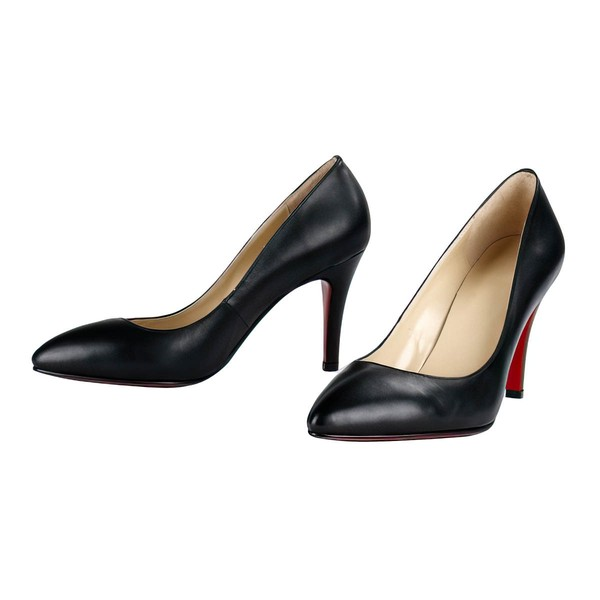 Women's Black Real Leather Pumps #LDB03030297