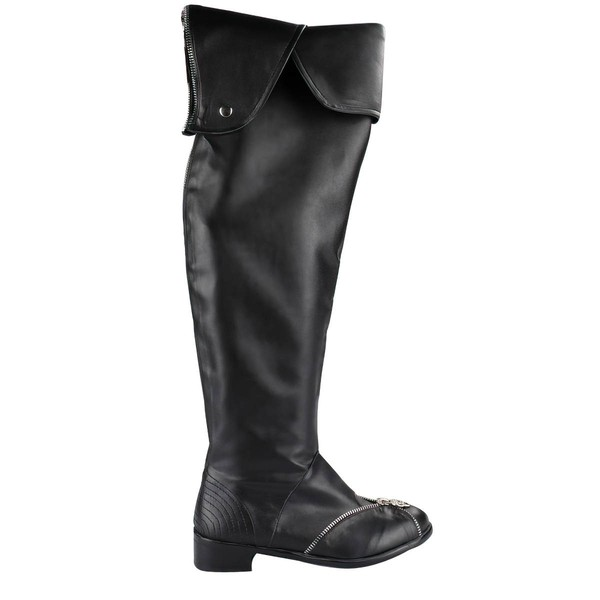 Women's Black Real Leather Closed Toe with Zipper
