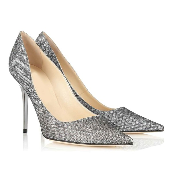 Women's Gray Sparkling Glitter Closed Toe #LDB03030299