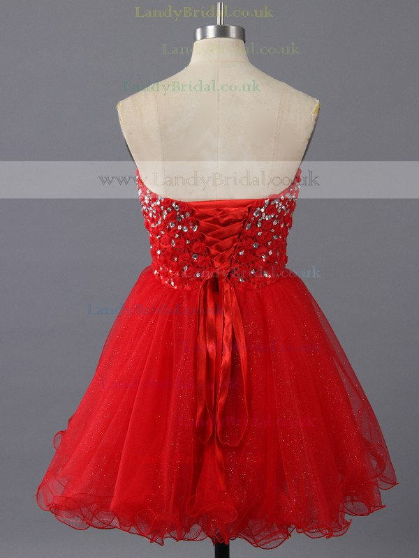 Pretty Ball Gown Sweetheart Crystal Detailing Red Tulle Cocktail Dresses #LDB02019145