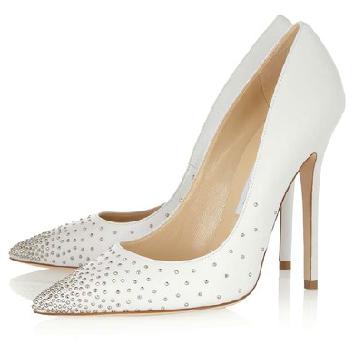 Women's White Velvet Closed Toe with Rivet #LDB03030305