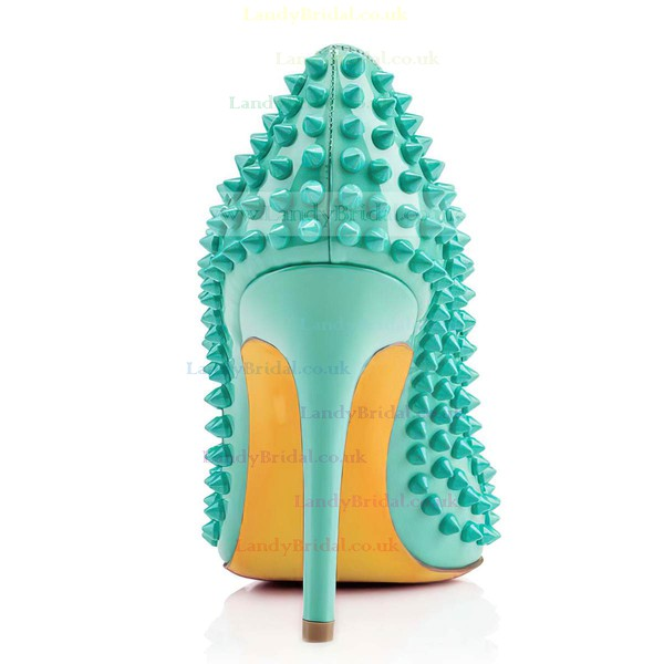 Women's Green Patent Leather Closed Toe with Rivet