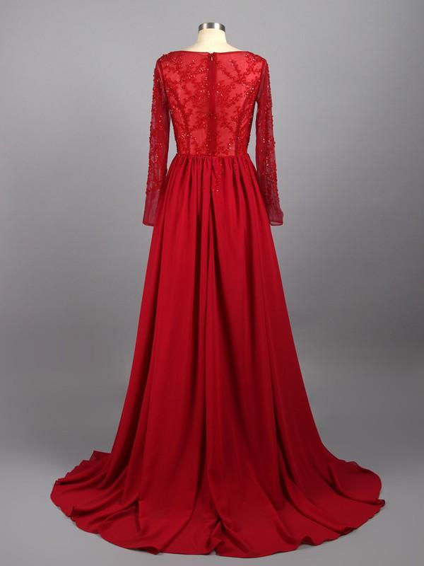 Scoop Neck Beading Court Train Long Sleeve Burgundy Chiffon Tulle Prom Dresses #LDB02019146