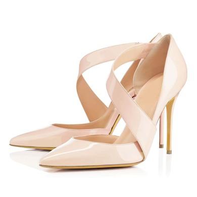 Women's Pale Pink Patent Leather Pumps #LDB03030314