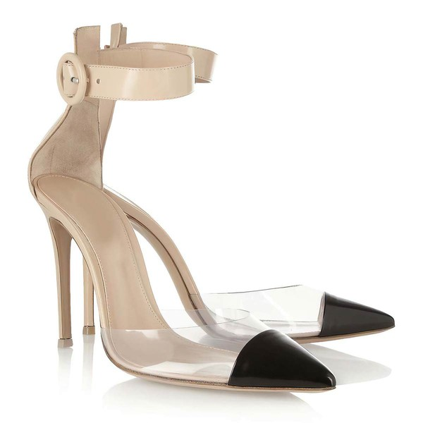 Women's Champagne Real Leather Pumps with Buckle #LDB03030316