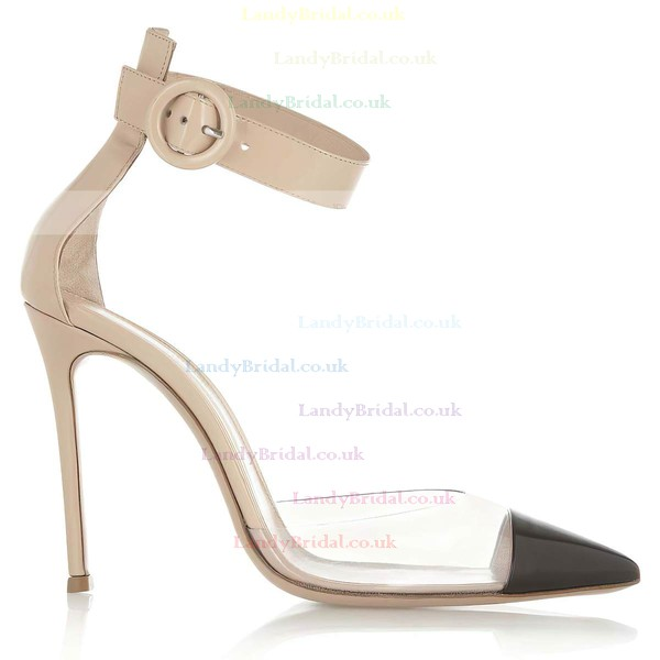 Women's Champagne Real Leather Pumps with Buckle