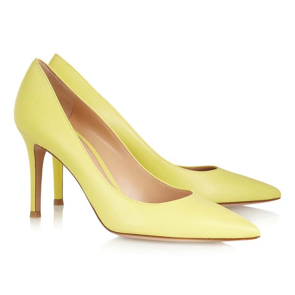 Women's Yellow Patent Leather Pumps #LDB03030318