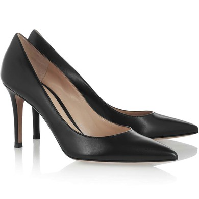 Women's Black Real Leather Pumps #LDB03030320
