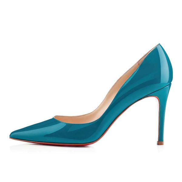 Women's Blue Patent Leather Pumps
