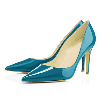 Women's Blue Patent Leather Pumps #LDB03030321