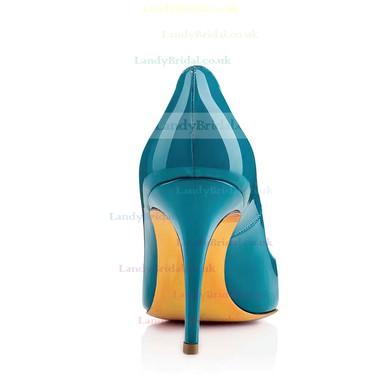 Women's Blue Patent Leather Pumps #LDB03030321