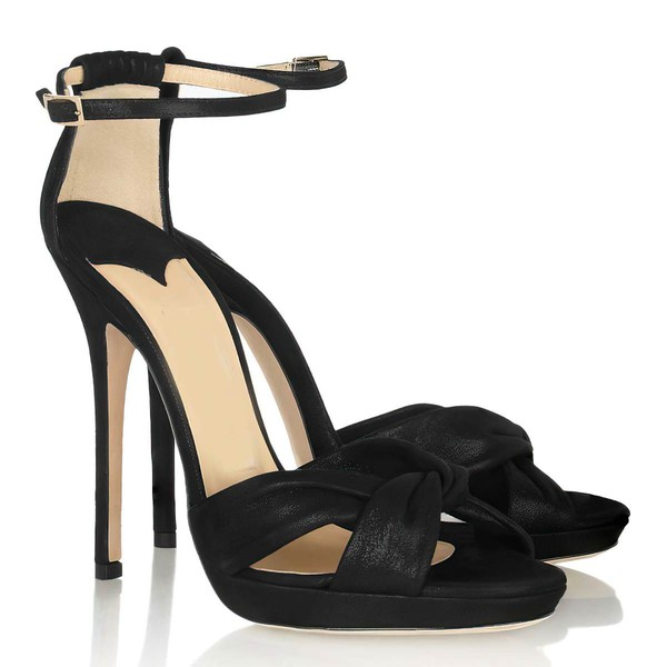 Women's Black Satin Peep Toe with Buckle/Ruched #LDB03030322