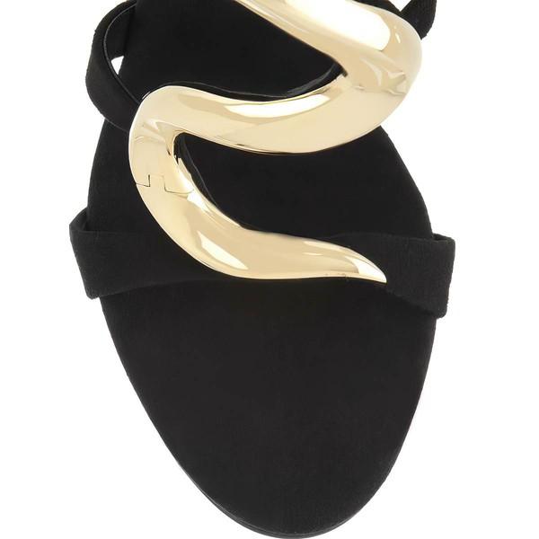Women's Black Suede Pumps with Zipper