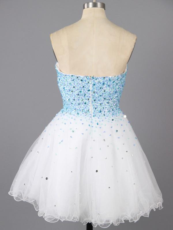 Amazing White Tulle Sweetheart Crystal Detailing Short/Mini Cocktail Dresses #LDB02019147