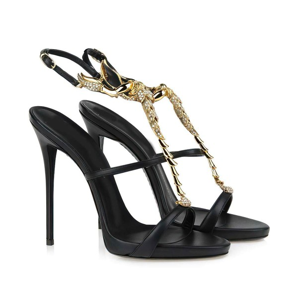 Women's Black Real Leather Pumps with Buckle/Crystal #LDB03030327