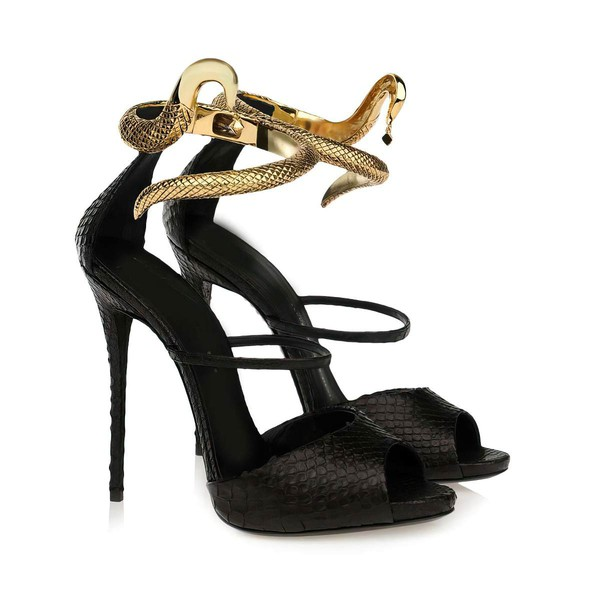 Women's Black Real Leather Sandals #LDB03030330