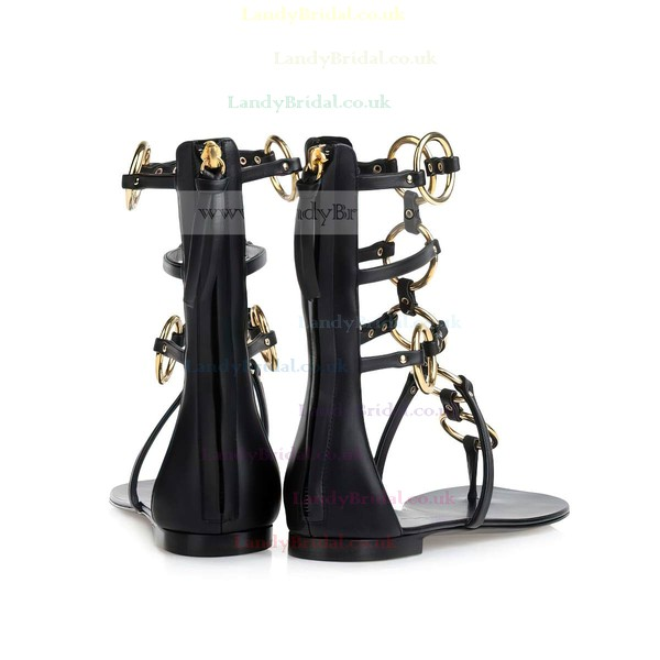 Women's Black Patent Leather Sandals with Zipper