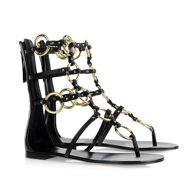 Women's Black Patent Leather Sandals with Zipper #LDB03030333
