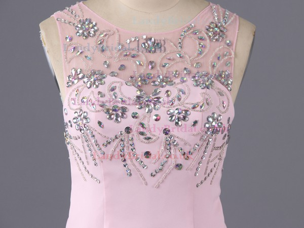 Pink Silk-like Satin Sheath/Column Scoop Neck Beading and Split Front Open Back Prom Dress #LDB02019148