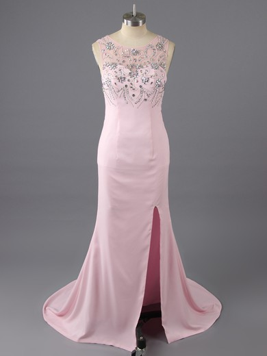 Pink Silk-like Satin Sheath/Column Scoop Neck Beading and Split Front Open Back Prom Dress #LDB02019148
