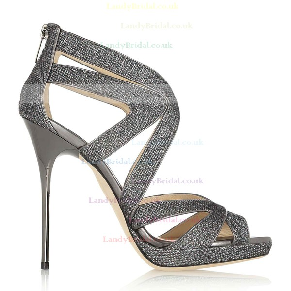 Women's Gray Sparkling Glitter Pumps with Zipper