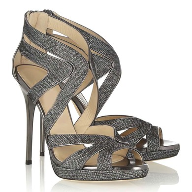 Women's Gray Sparkling Glitter Pumps with Zipper #LDB03030334