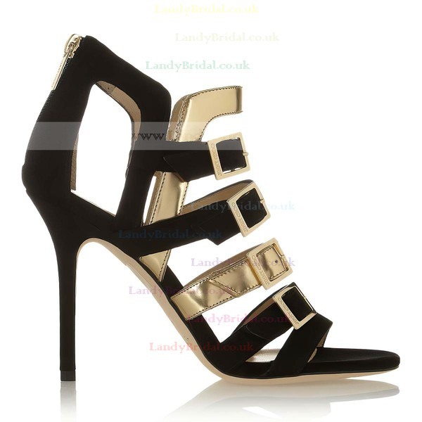 Women's Black Suede Pumps with Buckle/Zipper