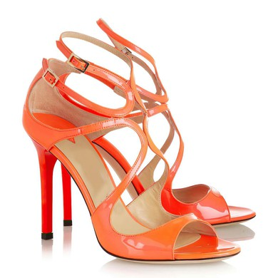 Women's Orange Patent Leather Pumps with Buckle #LDB03030338