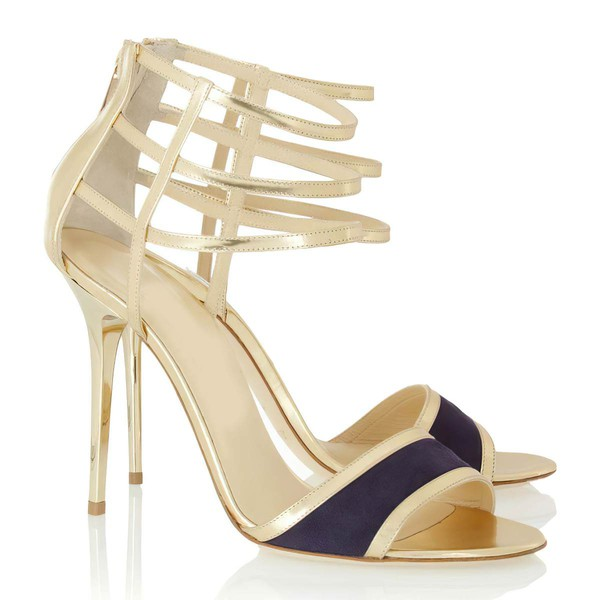 Women's Gold Patent Leather Pumps with Zipper #LDB03030341