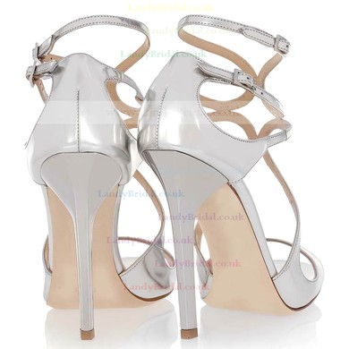 Women's White Patent Leather Pumps with Buckle #LDB03030342